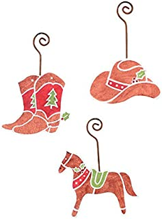 The Round Top Collection Cowboy Gingerbread Ornaments- Asst. 3 - Metal