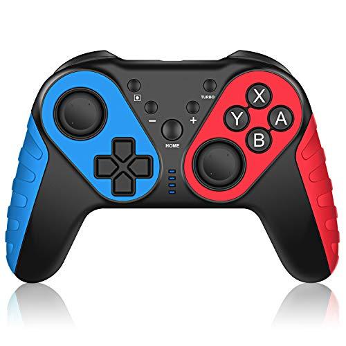 ECHTPower Mando Pro Controller para Nintendo Switch, Apoya Amiibo, Conexión Inalámbrico con 3 Vibraciones Ajustables, Sensor de Movimiento con Gyro Axis, Gamepad Bluetooth Joystick (Modelo Superior)