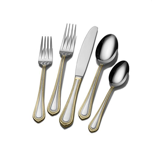 Mikasa Regent Bead Gold 65-Piece Stainless Steel Flatware Set, Service for 12