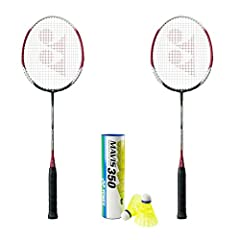 Contains 2 rackets of B-4000 and 1 tube of Mavis 350 yellow medium shuttlecock. The color of B4000 may change. Combo set made for quick and temporary use.