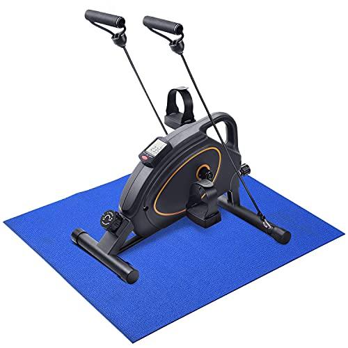 Mini Bicicleta Estática Pedales Estaticos Pedaleador Máquinas para Entrenamiento de Brazos y Piernas LCD Pantalla y Resistencia Ajustable