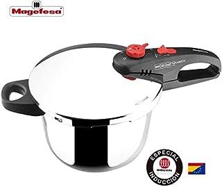 MAGEFESA QUALIX Olla a presión Super rápida de fácil Uso, Acero Inoxidable 18/10, Apta para Todo Tipo de cocinas, Incluido inducción. (6L)
