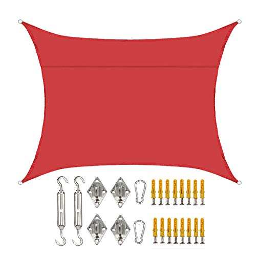 SMLJFO Toldo rectangular de 3 x 4 m, impermeable, con protección solar, para jardín, patio, refugio, kit de fijación, color rojo