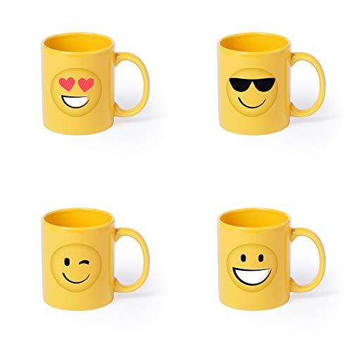DISOK - Lote de 36 Tazas en cerámica Diseño Emoticonos. Tazas Infantiles para desayunos, tazas para colegios, fiestas, cumpleaños, bodas, comuniones.