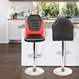 Extra Comfort Modern Racing Seat Bar Stools Chair Adjustable Swivel Mixed Color Set of 2 (Black/Red)