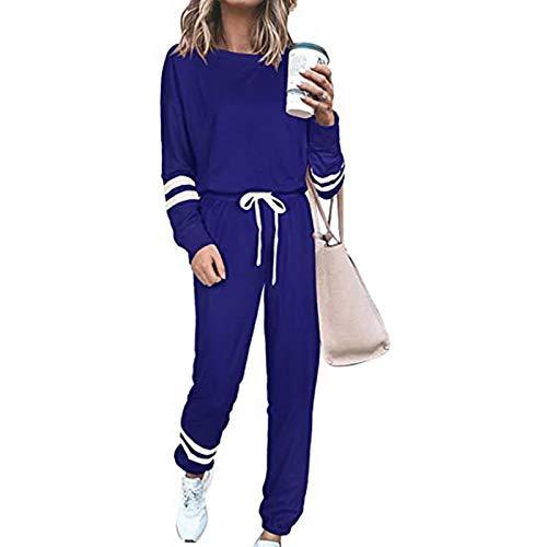 wenyujh Trainninganzug Damen 2 Stück Sportanzug Sweatshirt mit Sporthosen Laufenanzug Jogginganzug Fitnessanzug Sportswear für Frauen(Marine,L)