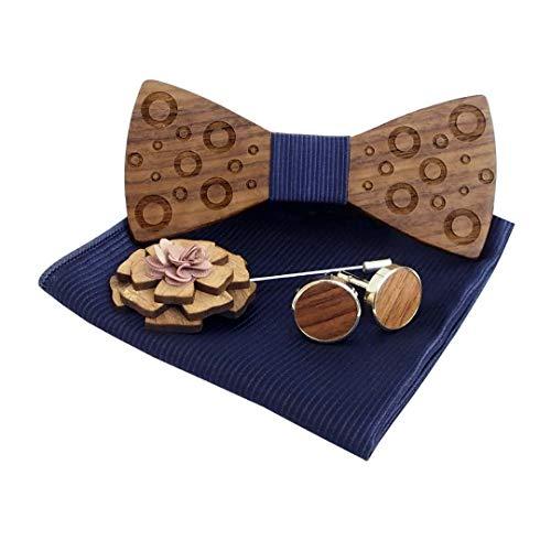 Pajarita de madera + bufanda cuadrada + Gemelos + Broche, Diseños únicos Pajarita de madera híbrida Ajustable para hombre Sólido Corbata de color Corbata para accesorios de ropa, Conjunto de cuatro pi