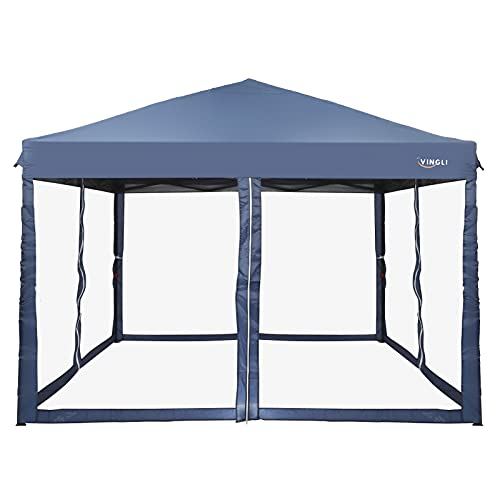 VINGLI EZ POP UP 10'x10' Outdoor Canopy Tent| Removable Mesh Sidewalls for Camping/Travel/Patio/Gazebo, Sun & Water Resistant