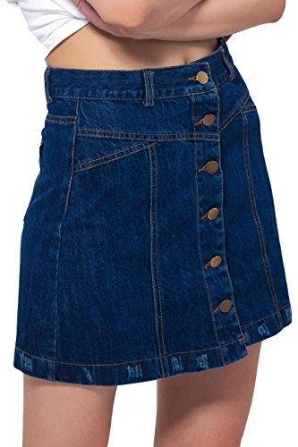 ARACK Damen Rock mit Knopfleiste vorne und hinten - Blau - Groß