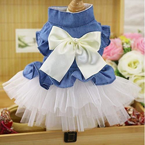 LINDANIG Nette Hundekleidung Denim-Kleid Mode-Haustier-Hunderock Kleidung Kleiner Hund Katze Frühlings-Sommer-Bequeme Kleidung Supplies (Farbe : White, Size : S)