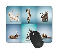 Yoga Cat Square滑り止めラバーマウスパッドゲーミングマウスパッド