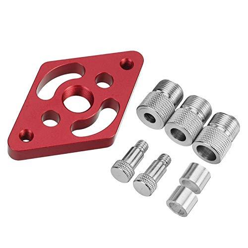 POHOVE Kit de plantilla de autocentrado para tacos de madera, guía de perforación de agujeros de madera, localizador de perforación, perforador de carpintería con 3 tornillos de límite (6/8/10 mm)