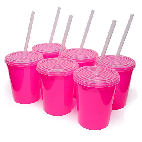 Rolling Sands 16oz Reusable Plastic Stadium Hot Pink Cups with Lids, 6 Pack, USA Made; Plastic Tumblers and Lids, Includes 6 Reusable Straws; Top Shelf Dishwasher