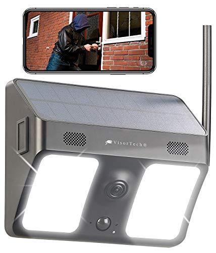 VisorTech Überwachungskamera außen: Kabellose WLAN-IP-Kamera, Flutlicht, Full HD, Solarpanel, App, schwarz (Lampe mit Kamera)