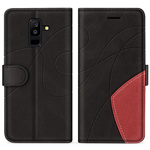 SUMIXON Hülle für Galaxy A6 Plus 2018, PU Leder Brieftasche Schutzhülle für Samsung Galaxy A6 Plus 2018, Kratzfestes Handyhülle mit Kartenfächern & Standfunktion, Schwarz