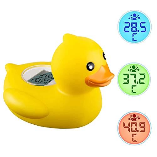 Termómetro de baño, termómetro digital, termómetro de baño y ambiente 2 en 1 con lámpara de advertencia LED y alarma de temperatura para medir la temperatura del agua y jugar en la bañera, pato