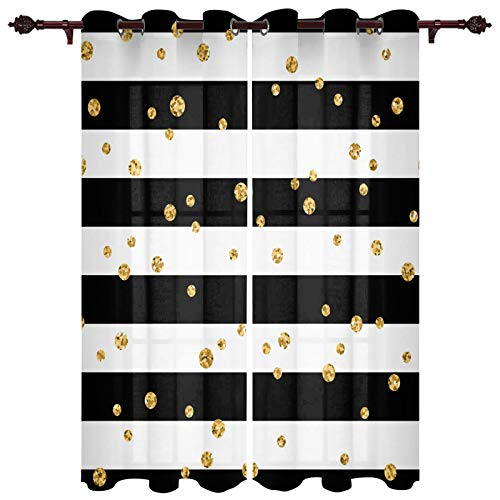 """FAMILYDECOR Window Curtains Grommet Top Curtain Panel Pair, Black and White Stripe Gold Polka Dot Curtains for Living Room Bedroom Patio Door Set of 2 Panels Thermal Curtain Drapes 40""""x63""""x2 Panels"""