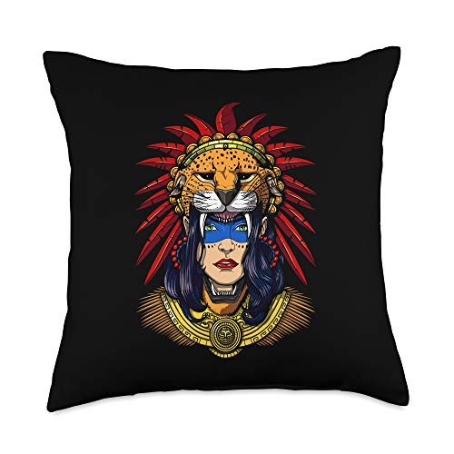 Ancient Aztec Mayan Mythology Clothing Aztec Jaguar Warrior Native Mexican Mayan Princess Mythology Throw Pillow, 18x18, Multicolor