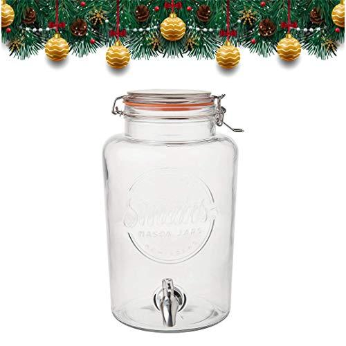 Smith's Mason Jars Distributeur de Boisson de 5 litres avec cônes en Acier, Treillis métallique et...
