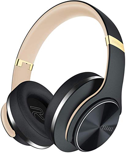 Bluetooth Headphones Over Ear, [Upgraded] DOQAUS Wireless Headphones,3 EQ Modes,52 Hrs Playtime, Foldable Hi-Fi Stereo Bass Headphones Protein Earpads with Mic & Wired Mode for CellPhones Tablet PC TV