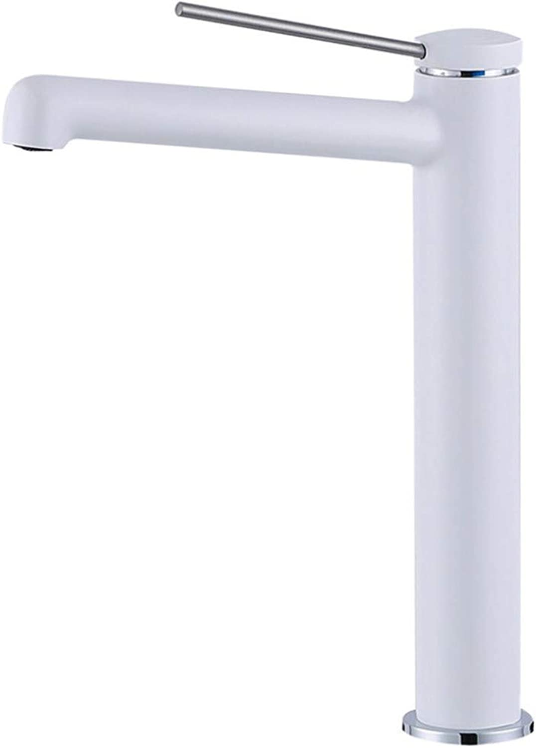 Bathroom Taps Basin Tap Taps for Bathroom Sinkwhite Baking Paint, Cold and Hot Lengthened Mouth, Face Basin, Faucet, Bathroom Cabinet, Double Control, High Pots, Pots and Faucets.