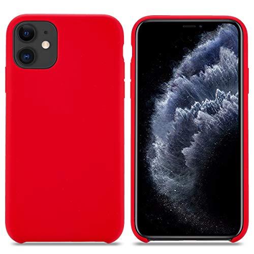 THBY Cover iPhone 11, Custodia Antiurto Gomma Gel Silicio Liquido con Fodera Microfibra Morbida Silicone Case Protettiva Cover per Apple iPhone 11. (6.1 inch,Rosso)