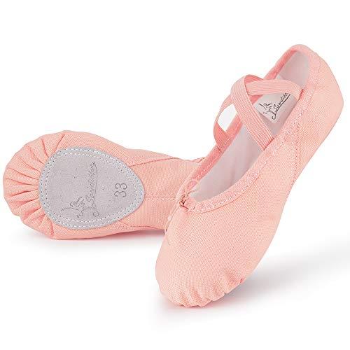 Soudittur Zapatillas Media Punta de Ballet - Calzado de Danza para Niña y Mujer Adultos Rosa Suela Partida de Cuero Tallas 29
