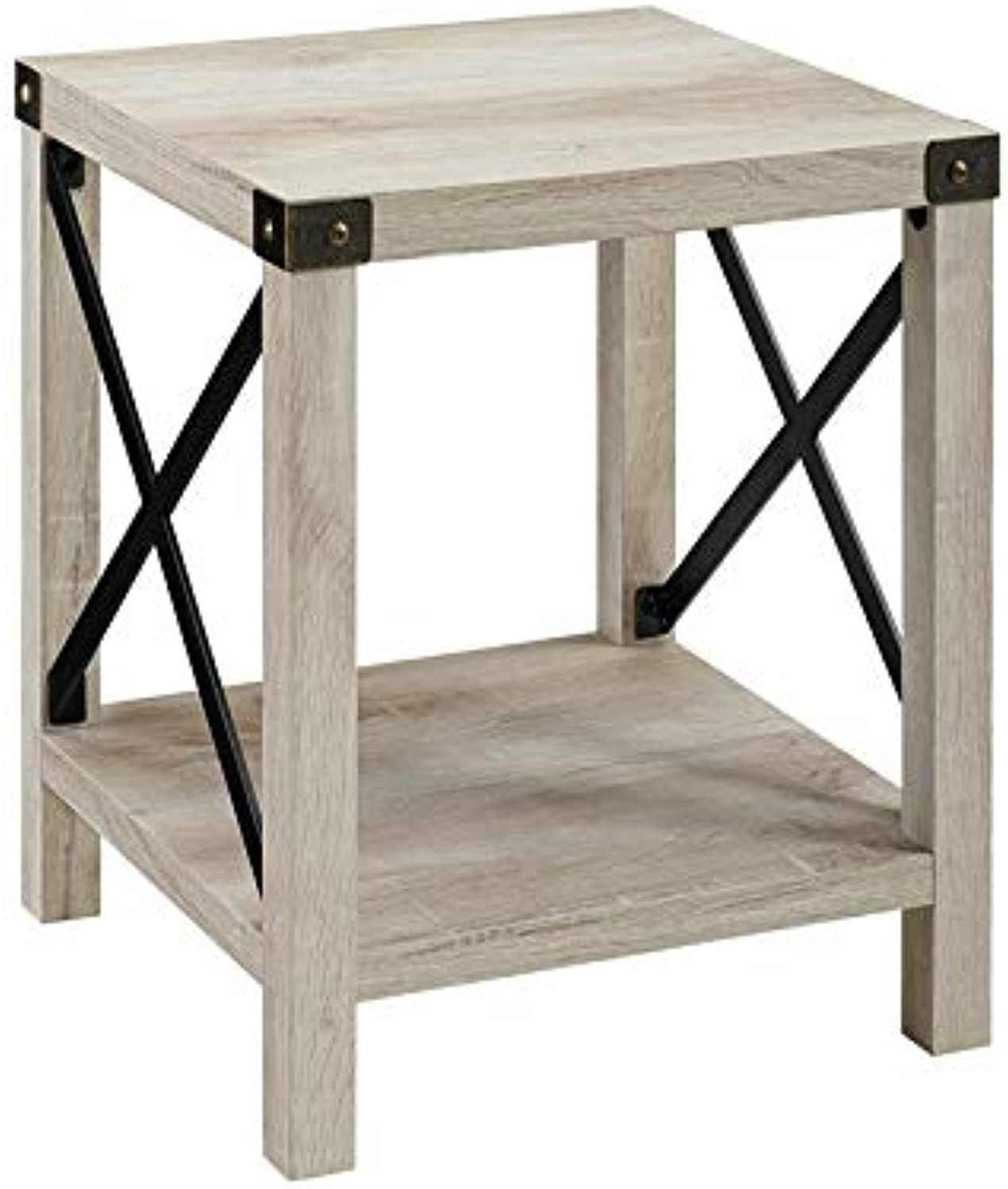 Pemberly Row 18  Metal Side Table in White Oak