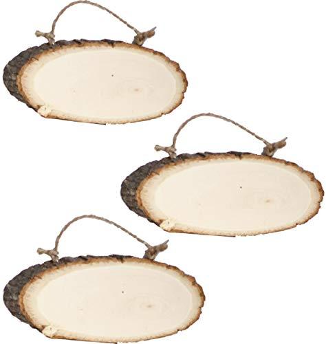Liuer Rund Natur Holzscheiben 3PCS Holz Log Scheiben mit Baumrinde Unbehandeltes DIY Handwerk Dekoration Holz Tischdeko Hochzeits Weihnachten Baum Anhänger (1CM Dicke)