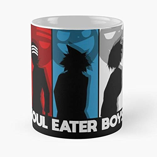 Soul Eater Boys - Taza de café de cerámica blanca de 325 ml para hombres, mujeres, niños y niñas.