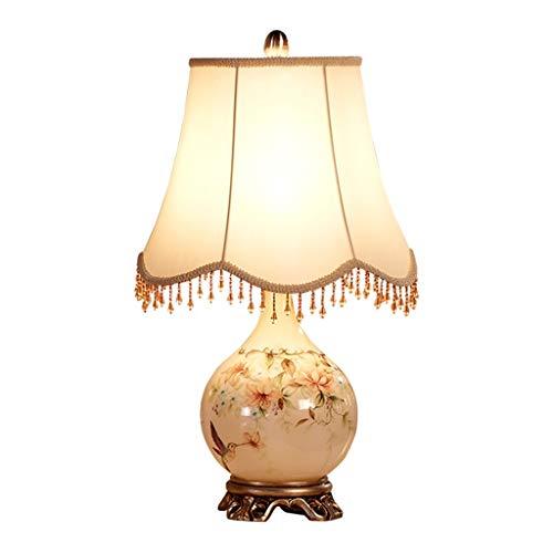 Lámparas de Escritorio Duolun Europea lámpara de mesa de cristal dormitorio lámpara de cabecera retro americana Sala de bodas creativo luz de la noche pantalla de la tela Lámpara de Mesa