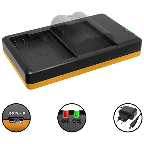 Dual-Ladegerät (Netz, USB) für Nikon EN-EL15(A) / D500, D600, D610, D750, D800(E), D850, D7000, D7500… s. Liste! - inkl. 2A Netzteil (2 Akkus gleichzeitig ladbar)
