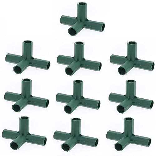 10PCS Plastic Coated Canes Connector for Garden Framework/Supports Cages/Fruit Cages/Netting Frames/Fencing, Greenhouse Frame Furniture Building Connectors (4 Way Corner Connector for 11mm Rods)