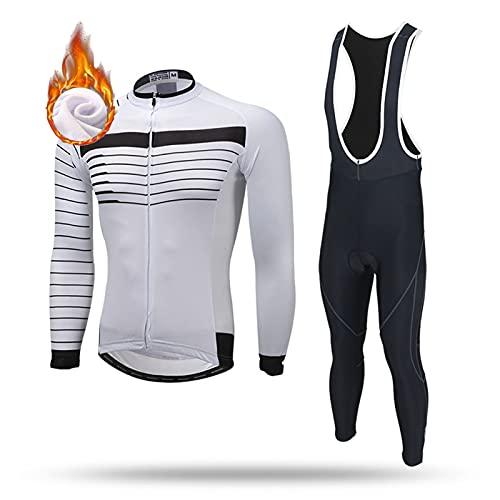 ZQD Completo Ciclismo Invernale da Uomo Abbigliamento da Bici da Strada MTB. Camicie, Pantaloni a Maniche Lunghe + Pantaloni da Bicicletta da Cuscino da 5d Gel 5D (Colore : Bianca, Taglia : S)
