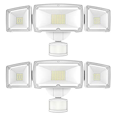 Sunco Lighting 2 Pack 38W LED Flood Light, 5000K Daylight, 3600 LM, 3 Head White Outdoor Security Light Fixture, IP65 Waterproof, Dusk-to-Dawn Photocell + PIR Motion Activated Sensor - ETL