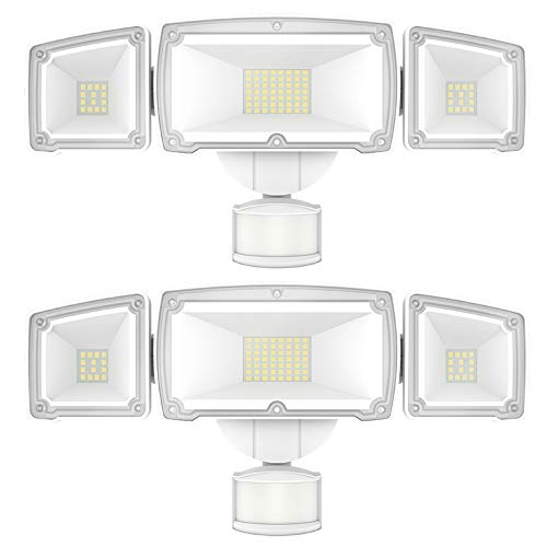 Sunco Lighting 2 Pack LED Security Light with Motion Activated Sensor (PIR) + Auto On-Off (Dusk-to-Dawn), 3 Head White Outdoor Fixture, 38W, 5000K Daylight, 3600 LM, Waterproof - ETL
