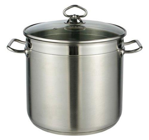 Kochtopf mit Glasdeckel, Suppentopf, Topf aus Edelstahl 10 Liter 24x22 cm