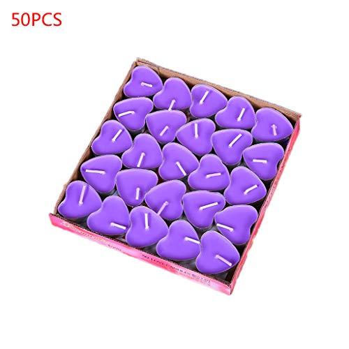 RK-HYTQWR 50Pieces / Box Love Heart Tealight Candles Vela sin Humo Regalo de propuesta de San Valentín, Vela pequeña en Forma de corazón púrpura, Morado