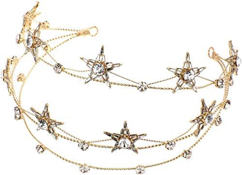 Stern Krone Stirnbänder Bling Tiara Braut Haarstücke Schmuck Für Hochzeit Weihnachten Geburtstag Party Zubehör Golden (Farbe : Golden)