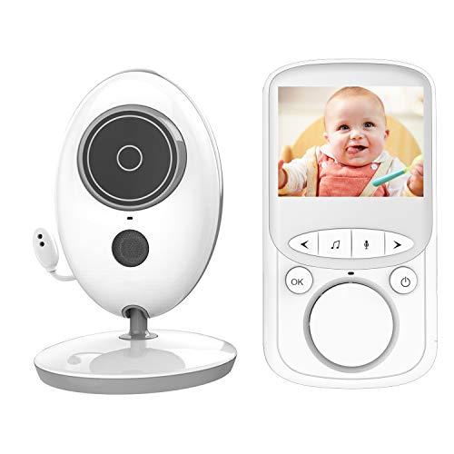 MARKBOARD Wireless Baby Monitor,Babyphone mit Kamera,Video Babyphone, mit Gegensprechfunktion Digital mit Temperatursensor Schlaflieder VOX Funktion für Baby Überwachung … (grau-weiß)
