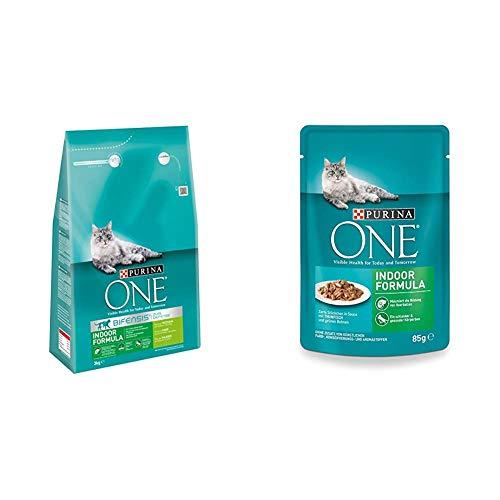 Purina One Katzenfutter Trocken- und Nassfutter Mix-Pack (4 x 3kg und 24 x 85g) Indoor Formula Truthahn und Thunfisch
