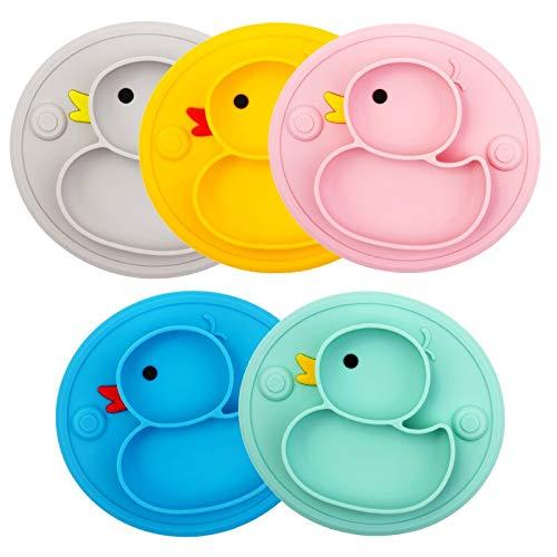 LIANG Juego de platos de comida de silicona para bebés de 9 meses de destete