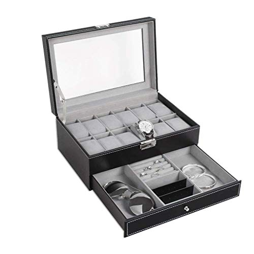 THj Watch Box-12 Slots Organizador de Estuche de Cuero PU con cajón de joyería para Almacenamiento y exhibición de Lujo
