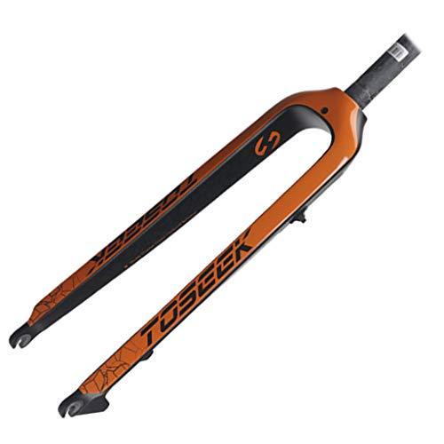 LSRRYD Suspensión de ciclismo Bicicleta de montaña Horquilla delantera de fibra de carbono 27.5/29' MTB horquilla de suspensión 160mm freno de disco 1-1/8' (color: naranja, tamaño: 29')