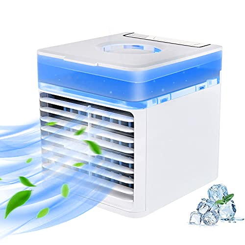 Air Conditioner Portable For Room - 3 In 1 Design Evaporative Compac Air Cooler Fan With 3 Wind Speeds,Usb Personal Mini Ice Ac Fan With 7 Colors Night Light For Home,Office