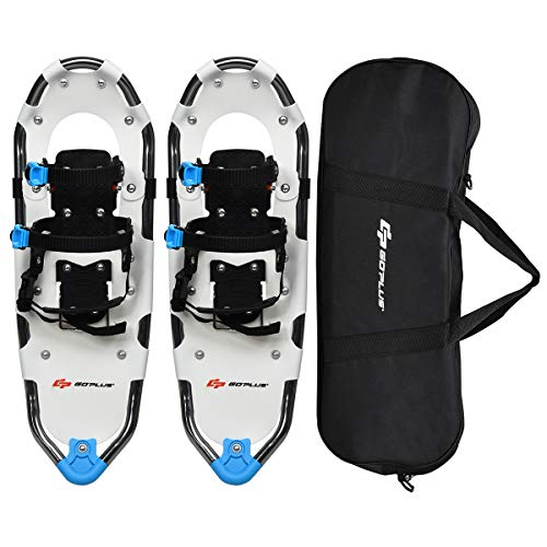 Goplus 21'/25'/30' Snowshoes for Men and Women, Lightweight Aluminum Alloy All Terrain Snow Shoes with Adjustable Ratchet Bindings with Carrying Tote Bag (White, 25')