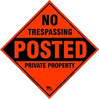 Minuteman Signs | Aluminum No Trespassing, Posted, Aluminum, Diamond Shaped Signs 4 Pack