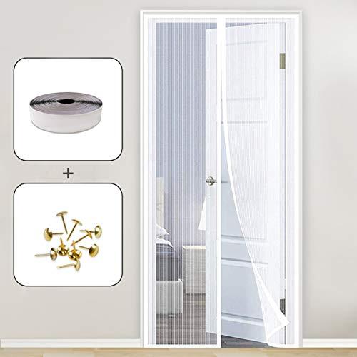 AMZERO Cortina Mosquitera Magnetica, 160x210cm Cortinas mosquiteras para Puertas Magnética Automático con Malla Super Fina para para Puertas Correderas/Balcones/Terraza, Blanco A