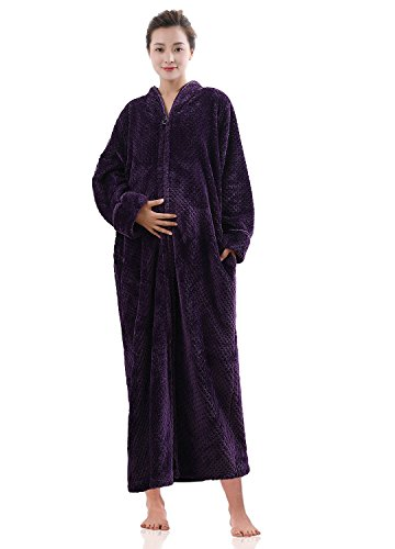 Womens Fleece Robe Plush Long Winter Zip-Front Bathrobe for Ladies with Pockets