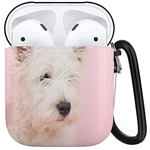 CIKYOWAY Funda Protectora para Airpods, Perro Rosa West Highland White Terrier Westie Westy Animal Collar para bebé Perro Lindo, Funda para Airpods 1 y 2 con Llavero, Funda Personalizada para auricul